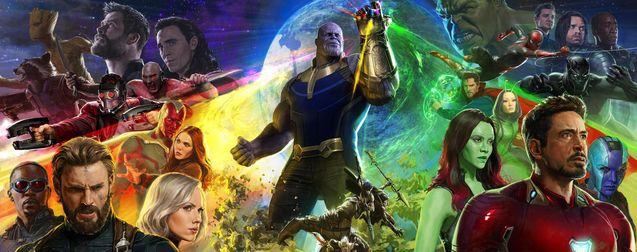 Avengers: Infinity War (2018) illustrated poster.