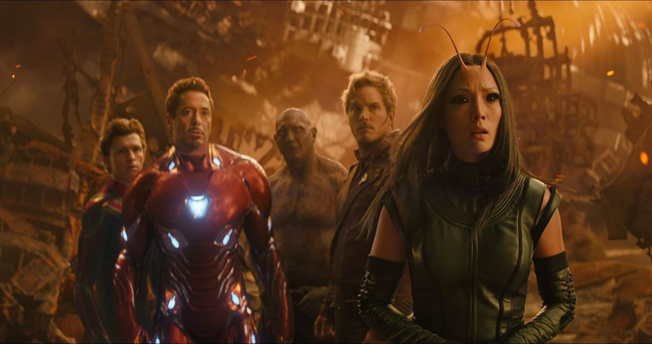 Spider-Man ,  Iron Man ,  Drax ,  Star Lord , and  Mantis  contemplate the destruction.