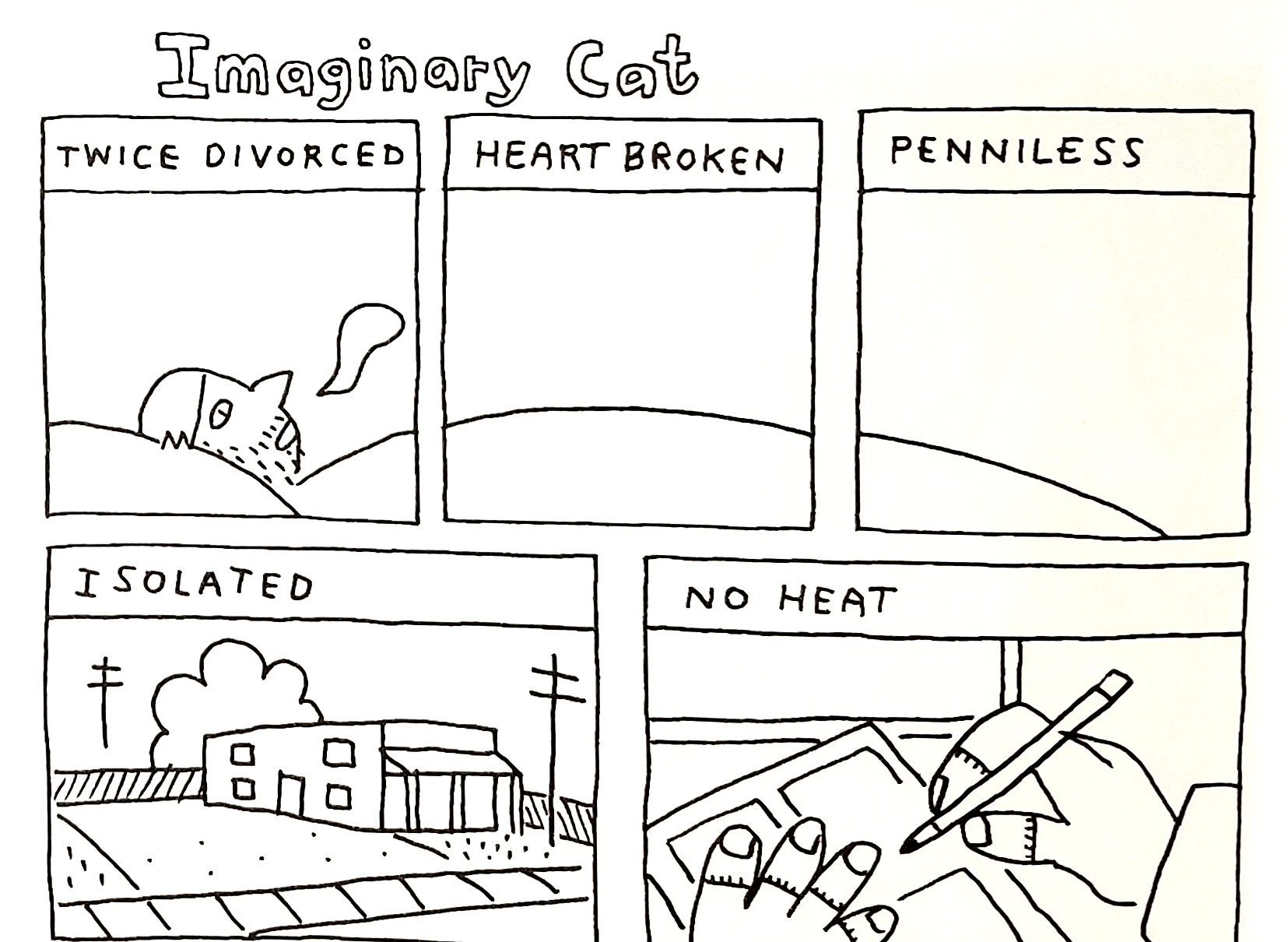A few panels from  Imaginary Cat , written & drawn by John Porcellino.