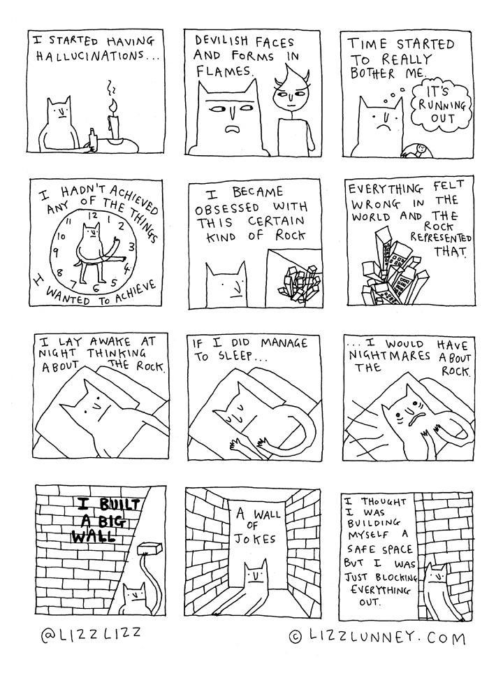 Rock Bottom  pg2, drawn by Lizz Lunney.