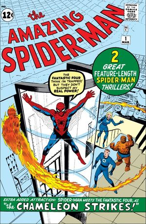 Amazing Spider-Man (1963) #1, cover penciled by Jack Kirby, inked by Steve Ditko, & colored by Stan Goldberg.