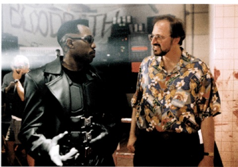 Wesley Snipes with Marv Wolfman on the set of  Blade  (1998).