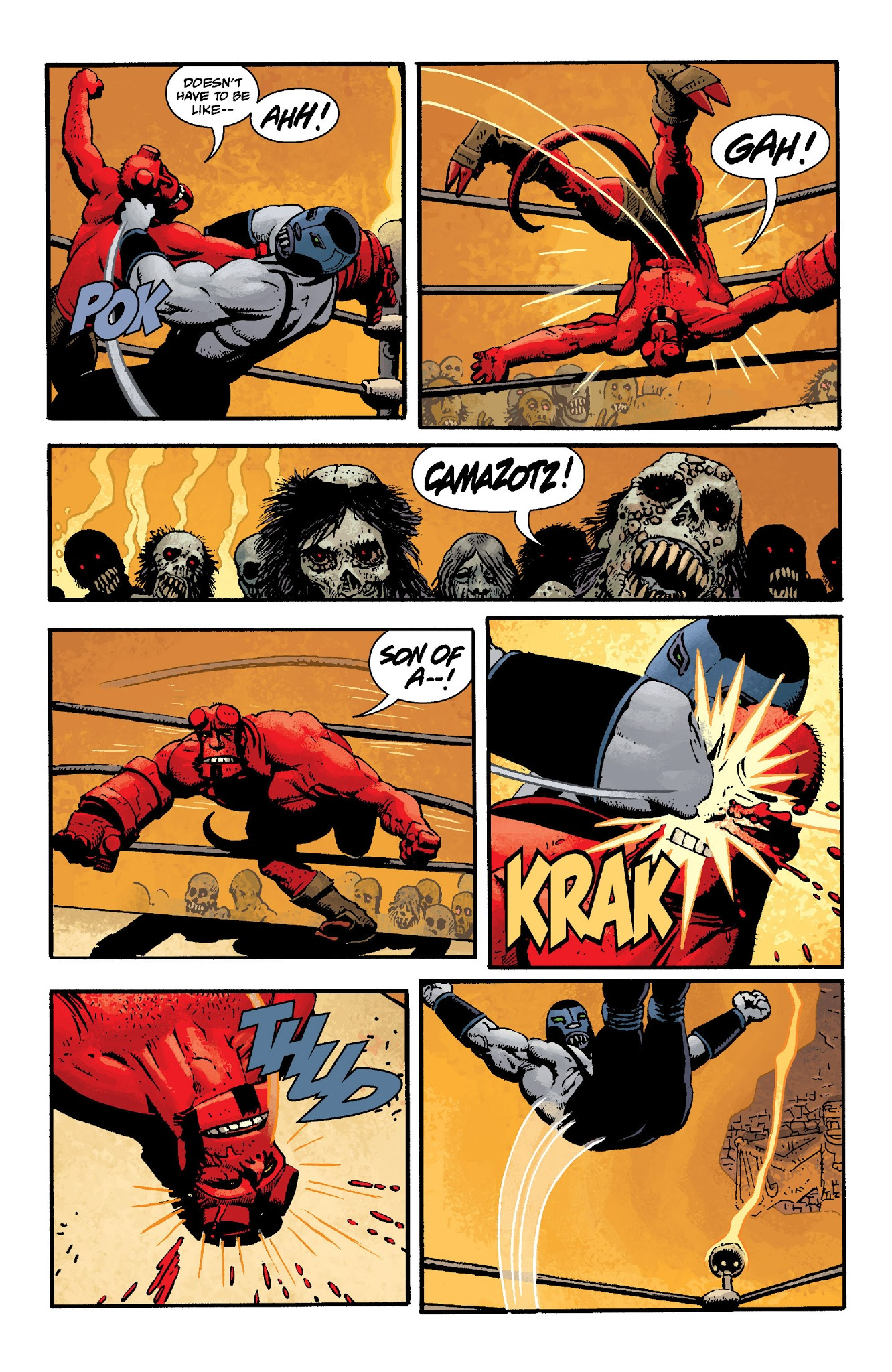 Hellboy In Mexico (2016) #1 pg.28, lettered by Clem Robins.