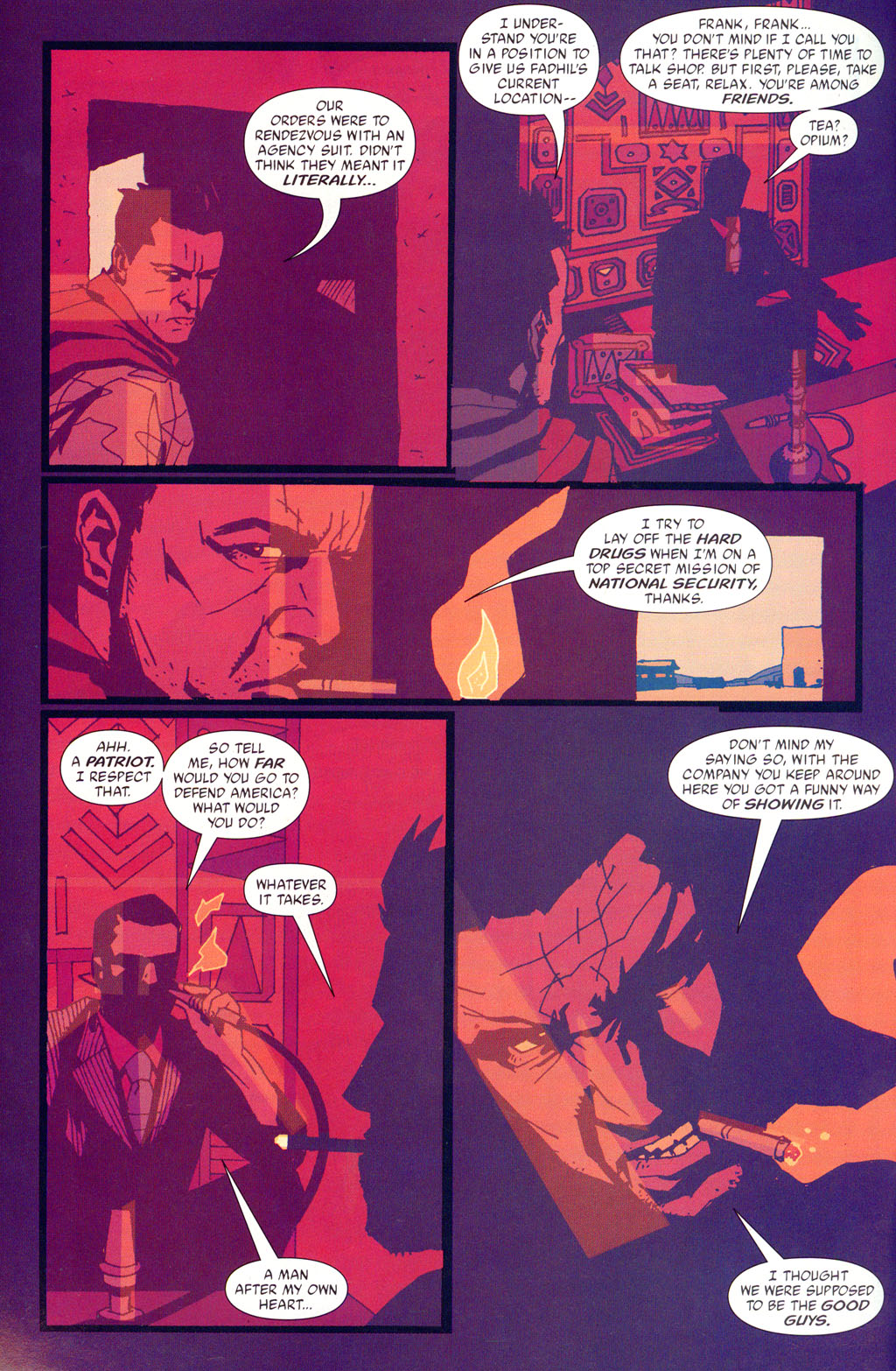 The Losers (2003) #16 pg.18, lettered by Clem Robins.