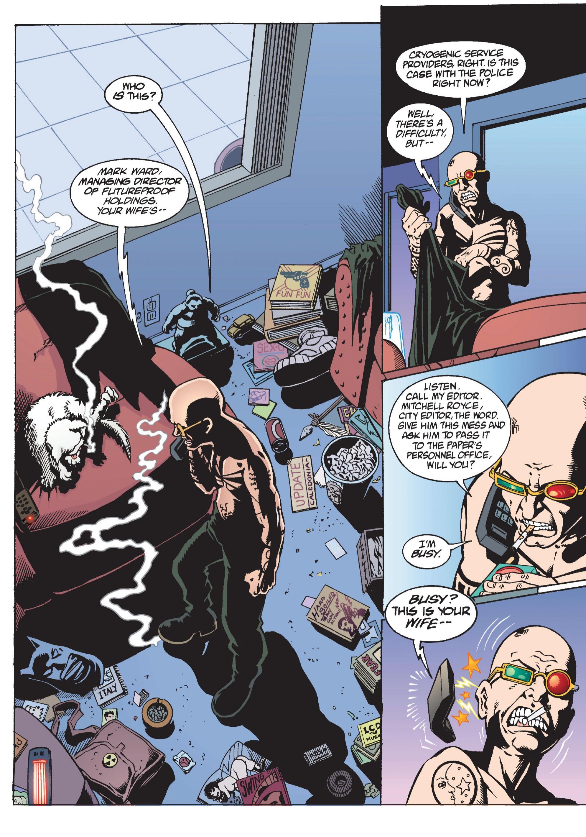 Transmetropolitan (1997) #10 pg.03, lettered by Clem Robins.