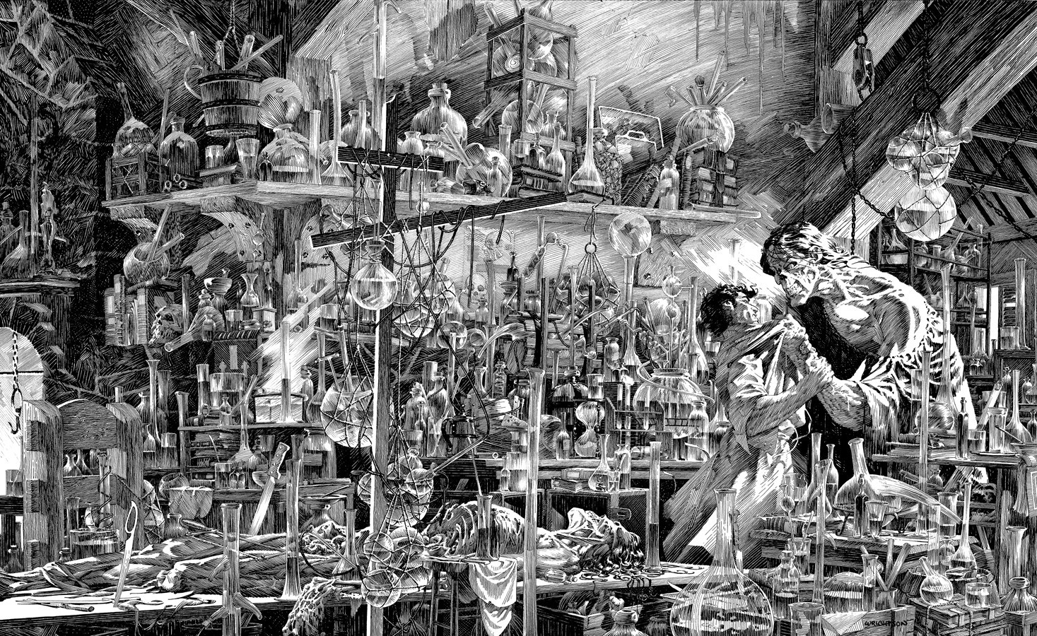 Frankenstein (2008) interior, art by Berni Wrightson.