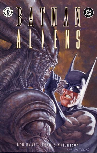 Batman-Aliens (1997) #2, cover by Berni Wrightson.