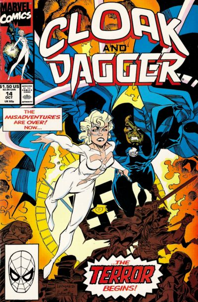 Cloak and Dagger (1990) #14, cover penciled by Rick Leonardi and inked by Joe Rubinstein.