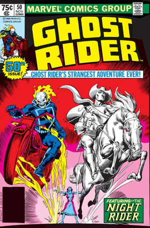 Ghost Rider (1973) #50, cover penciled by Bob Budiansky and inked by Joe Rubinstein.