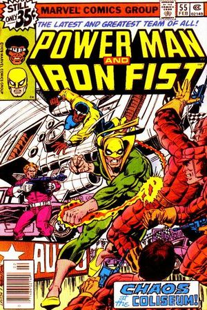Power Man and Iron Fist (1974) #55, cover penciled by Bob Layton and inked by Joe Rubinstein.