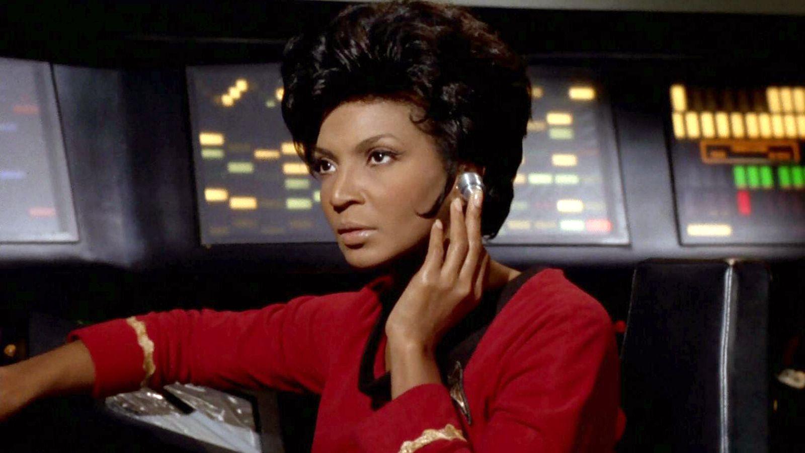 Nichelle Nichols  as  Lt. Uhura  in Star Trek.