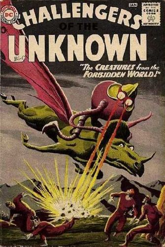 Challengers of the Unknown (1958) #11, cover by Bob Brown and Jack Adler.