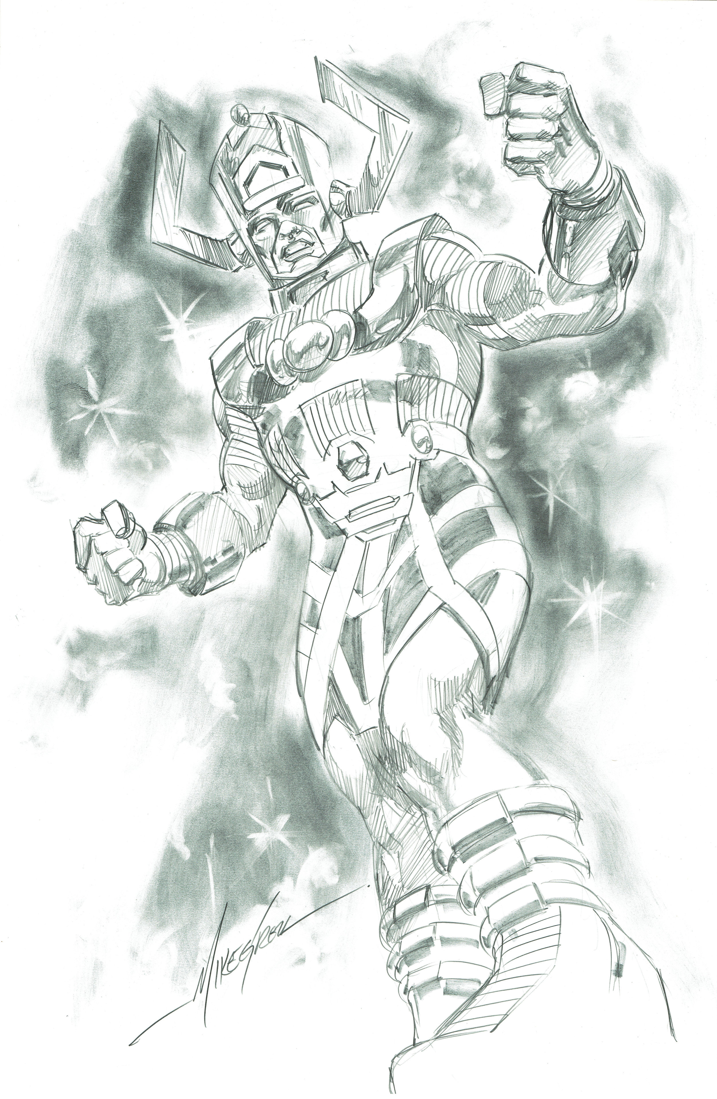 A pencil commission of Galactus done by Mike Grell in 2015.