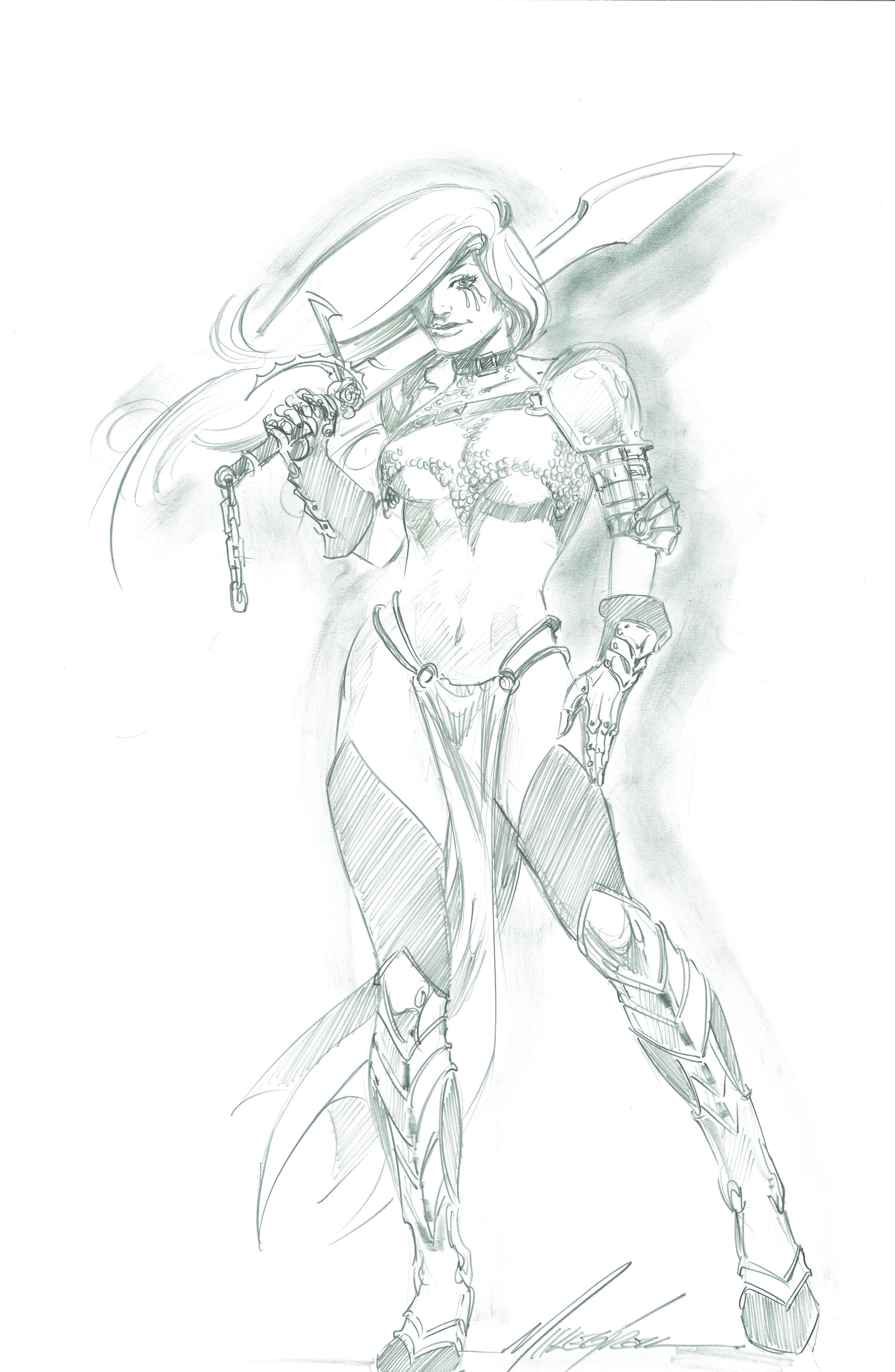 A pencil commission of J.L. Linsner's Dawn done by Mike Grell in 2015.
