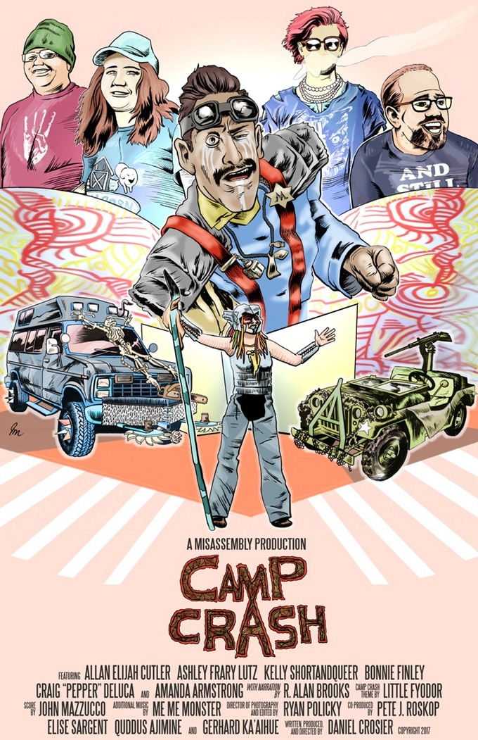 The  Camp Crash  release poster, featuring the art of  J. James McFarland .