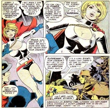 An interior page from  All-Star Comics (1940) #58 , the first appearance of  Power Girl . Pencils by  Ric Estrada , inks by  Wally Wood .