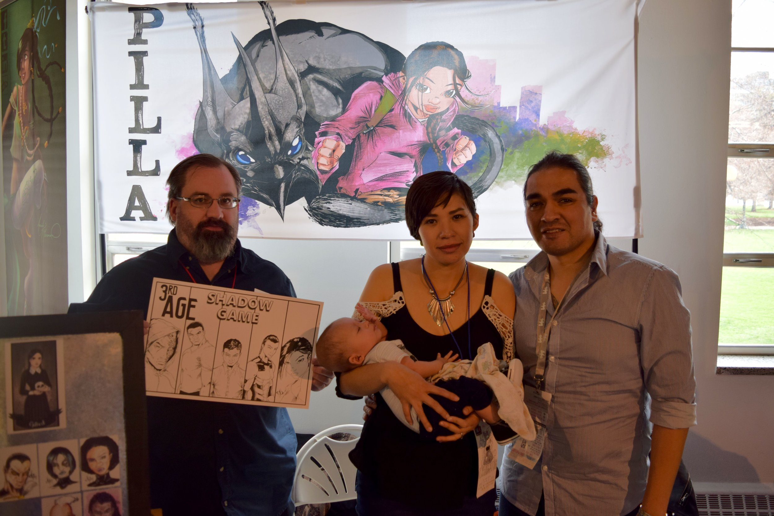 KEVIN BUTCHER (editor of  Pilla ) WITH KRISTINA, KODA, AND RAFAEL MALDONADO-BAD HAND AT DINK 2018. it had been a long day...