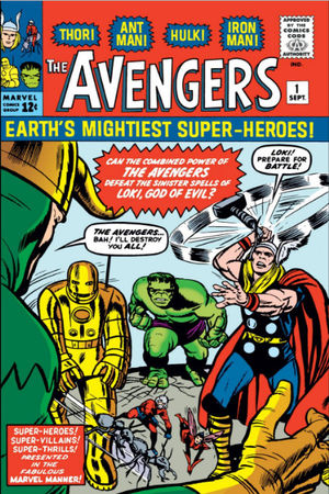 Avengers (1963) #1, cover penciled by Jack Kirby, inked by Dick Ayers.