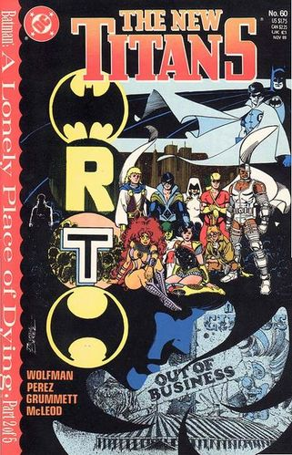 New Teen Titans (1984) #60, cover drawn by George Perez and colored by Anthony Tollin.