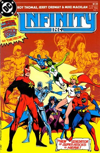 Infinity Inc. (1984) #1, cover drawn by Mike Machlan & Jerry Ordway and colored by Anthony Tollin.