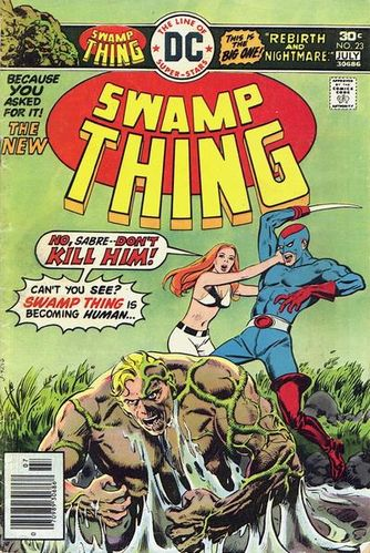 Swamp Thing (1972) #23, cover by Ernie Chan.