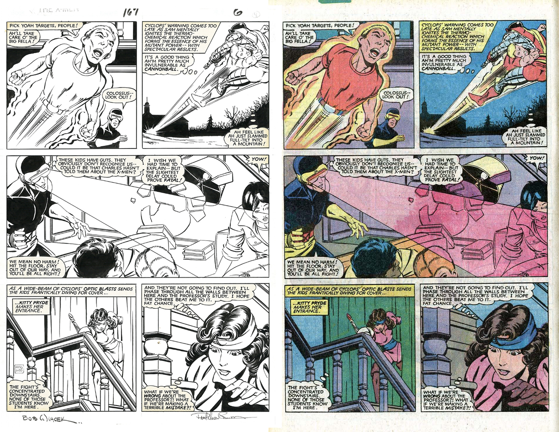 Uncanny X-Men (1981) #167 pg.6, original art to printed page. Lettered by Tom Orzechowski.