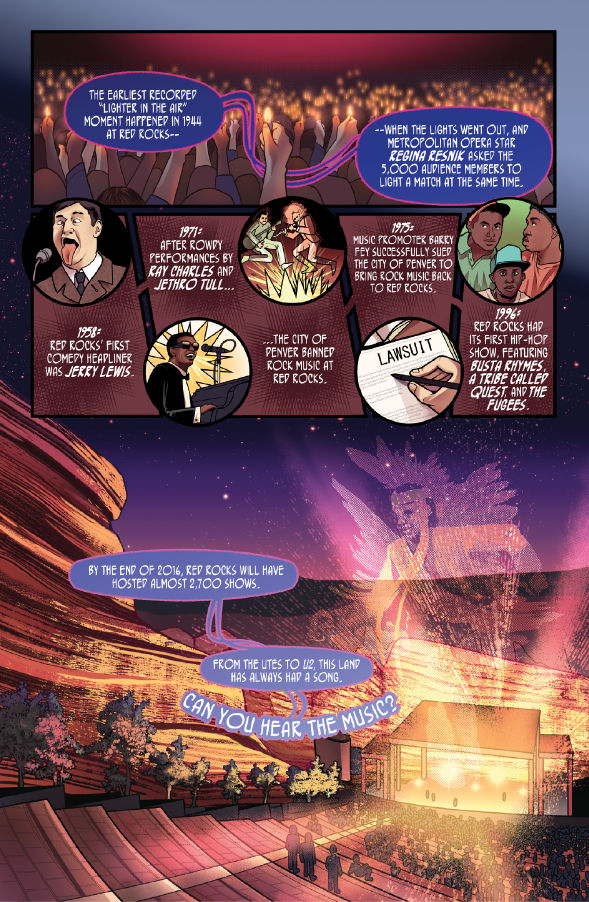 Colorful History #20: Red Rocks pg.1 - Written by R. Alan Brooks, Art from Dailen Ogden.