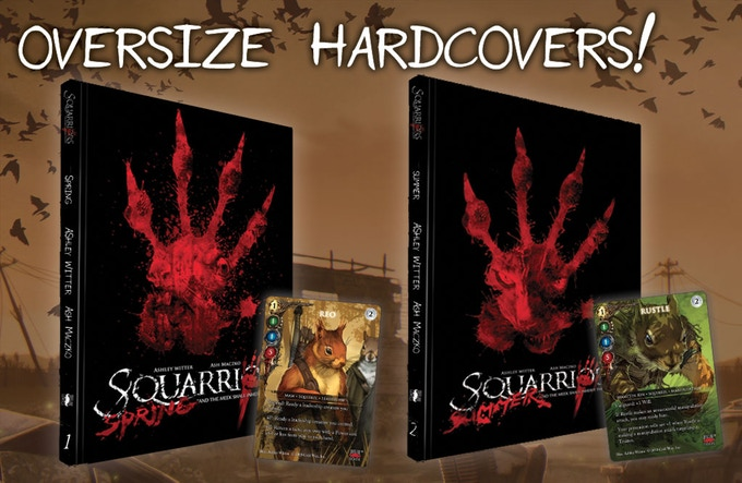 Both Oversize Hardcover Editions of  Squarriors  are available, and each comes with an exclusive  TCG  variant card.