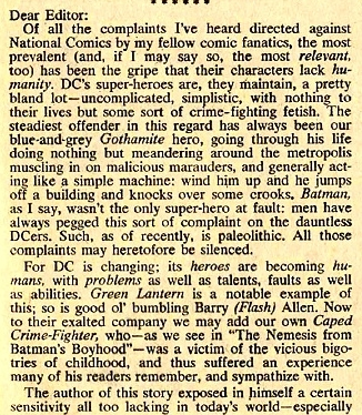 A  Guy Lillian  letter published in  Detective Comics (1937) #375  - continued below.