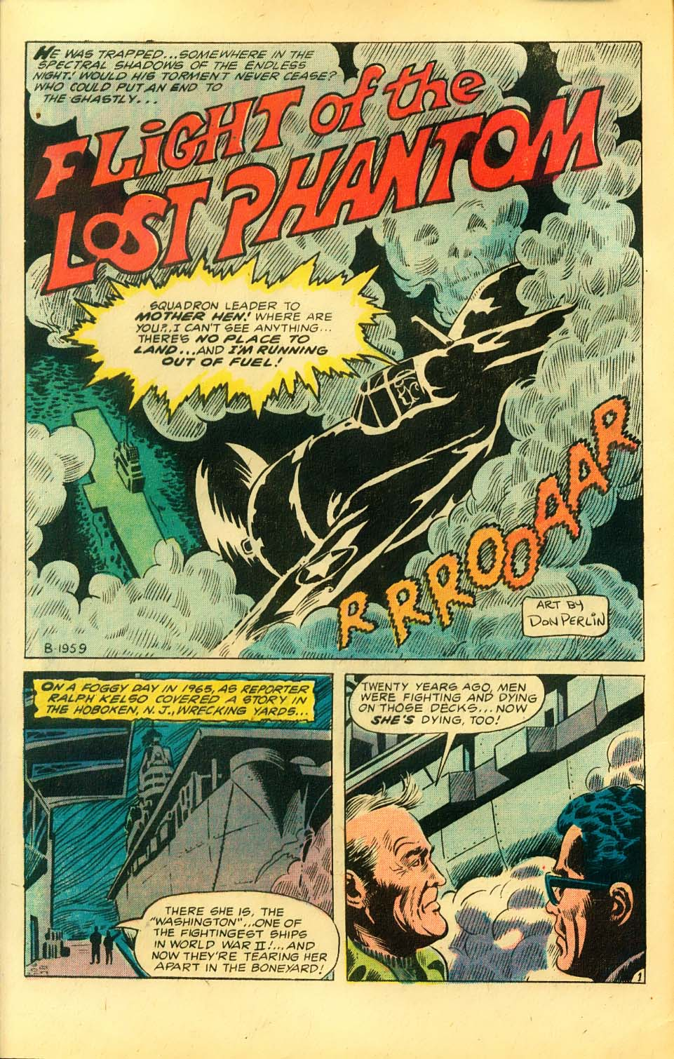 """ Flight of the Lost Phantom "" from  Ghosts (1971) #28 . Art by Don Perlin."