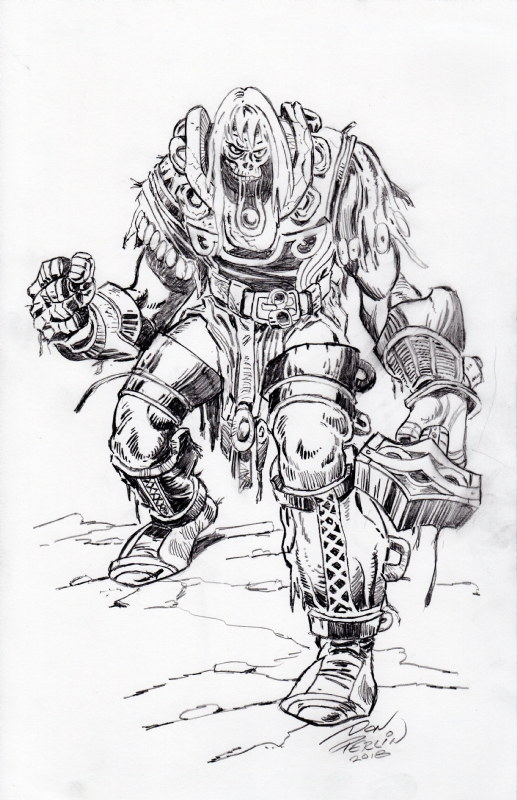 Simonson's Ragnarok Thor commission drawn by Don Perlin in 2018.