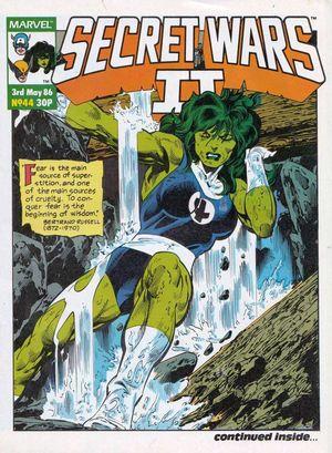 Secret Wars II (UK, 1986) #44, cover by John Byrne & Al Gordon, lettered by John Workman.