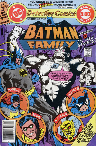 Detective Comics (1937) #482 cover by Rich Buckler & Dick Giordano, lettered by John Workman.