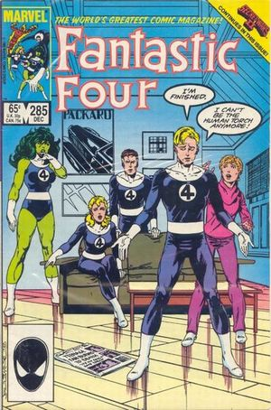 Fantastic Four (1961) #285, cover by John Byrne, lettered by John Workman.