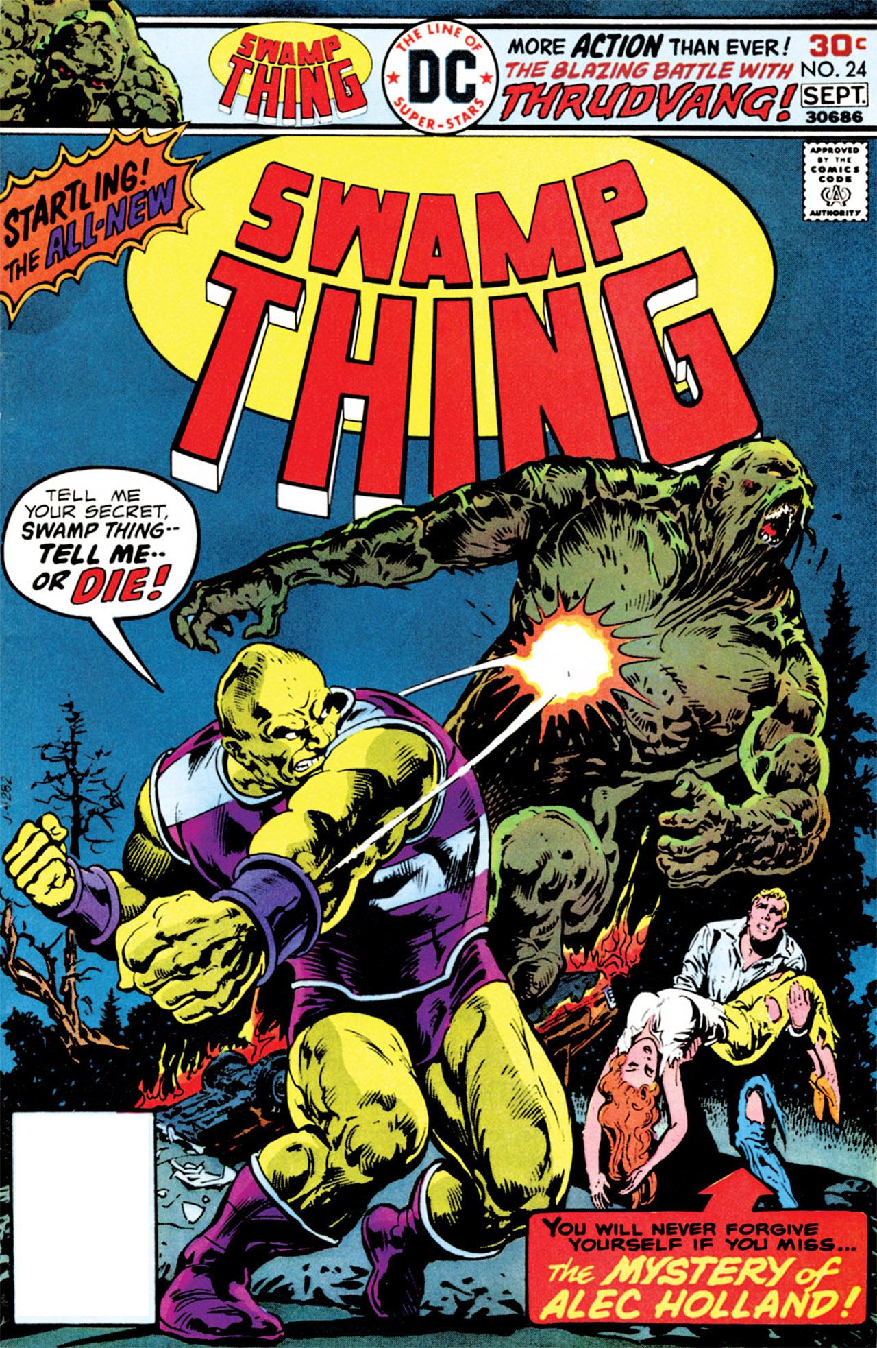 Swamp Thing (1972) #24, cover by Joe Orlando, logo by John Workman.