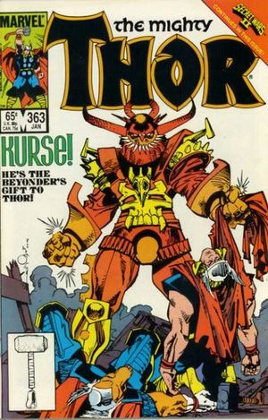 Thor (1966) #363, cover by Walt Simonson, lettered by John Workman.