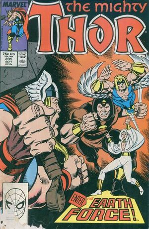 Thor (1966) #395, cover by Ron Frenz & Brett Breeding, lettered by John Workman.