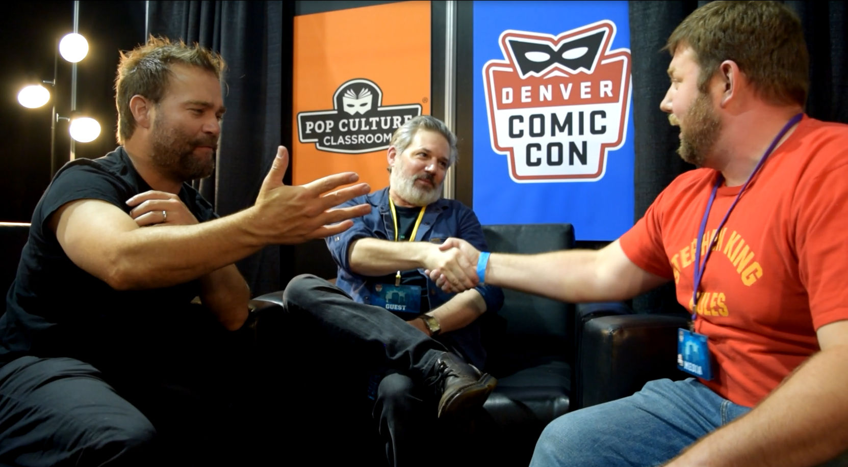 Andre Gower  &  Ryan Lambert  congratulate  Abrahm Akin  on an interview well done! Denver Comic Con 2018.