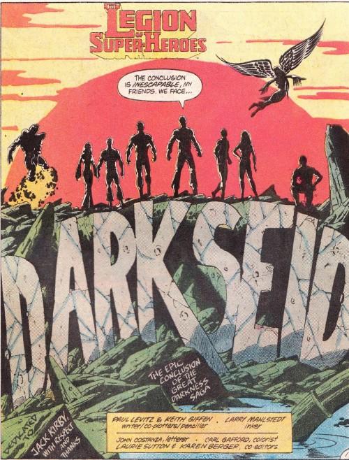 Legion of Super-Heroes (1980) #294 interior splash, featuring co-plotter credit for Paul Levitz & Keith Giffen.