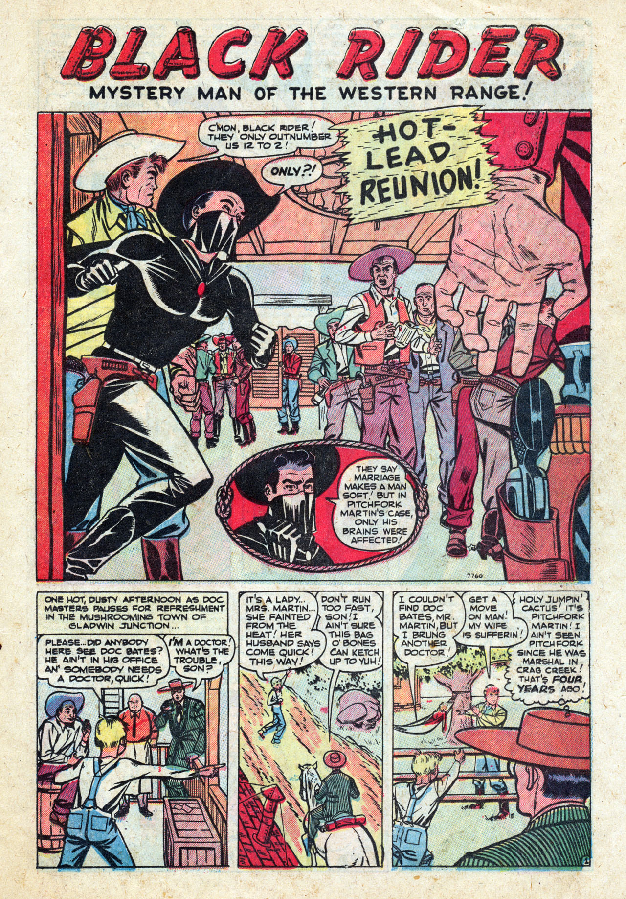 """Black Rider (1950) #12, interior story """"Hot Lead Reunion"""" - penciled by Al Hartley & Jay Scott Pike."""
