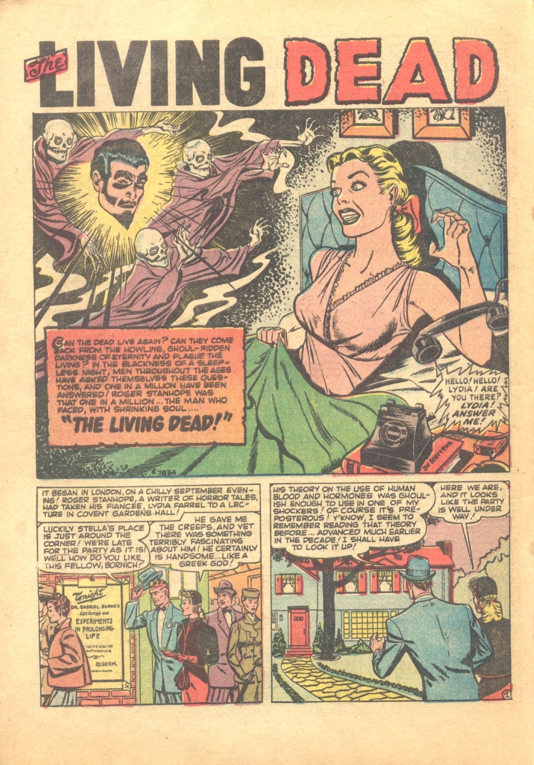 """Adventures Into Terror (1951) #3, interior story """"The Living Dead"""" - penciled & inked by Jay Scott Pike."""