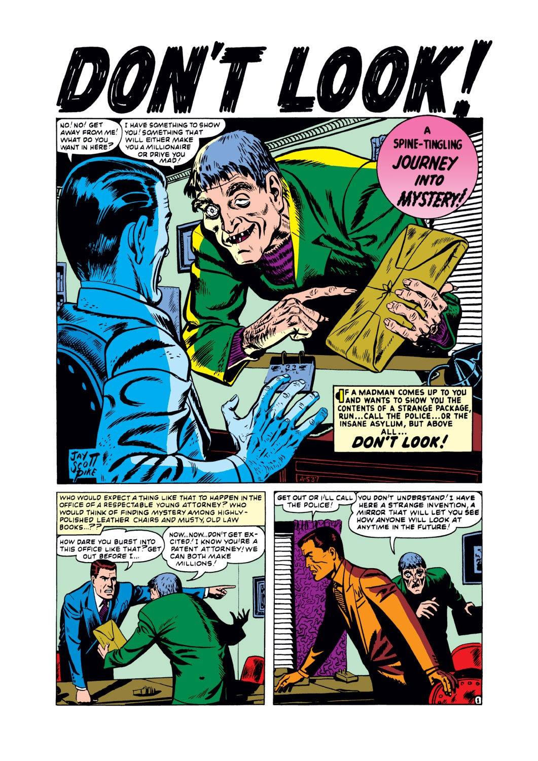 """Journey Into Mystery (1952) #2, interior story """"Don't Look""""- penciled & inked by Jay Scott Pike."""