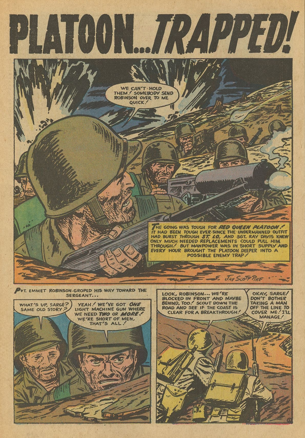 """Battleground (1954) #18, interior story """"Platoon Trapped"""" - penciled & inked by Jay Scott Pike."""
