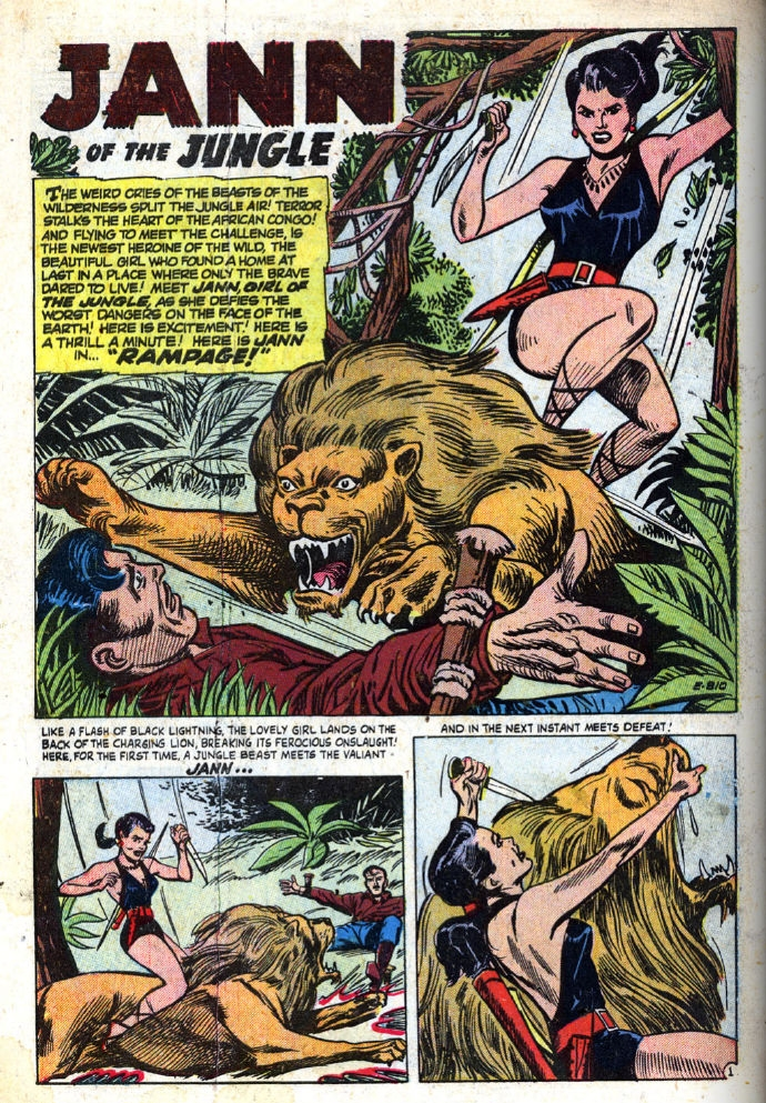 """Jungle Tales (1954) #1, interior story """"Rampage"""" - penciled & inked by Jay Scott Pike."""