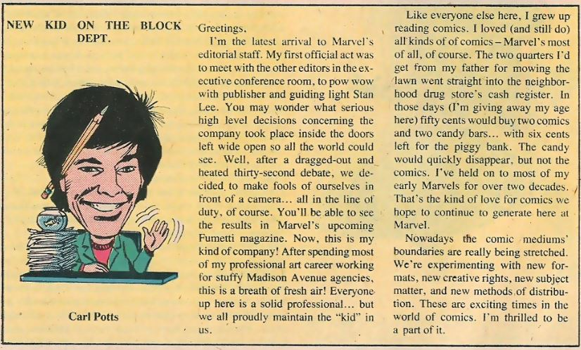 Carl's introduction to the Marvel editorial team.