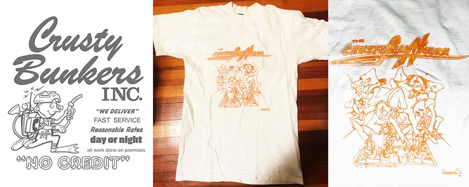 The Crusty Bunkers t-shirts:  Larry Hama 's design on the left,  Sergio Aragones  on the right