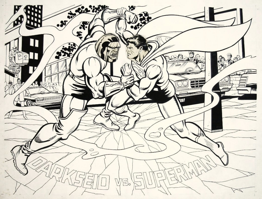 Darkseid Vs. Superman Pin-Up, penciled by Carmine Infantino & inked by Greg Theakston.