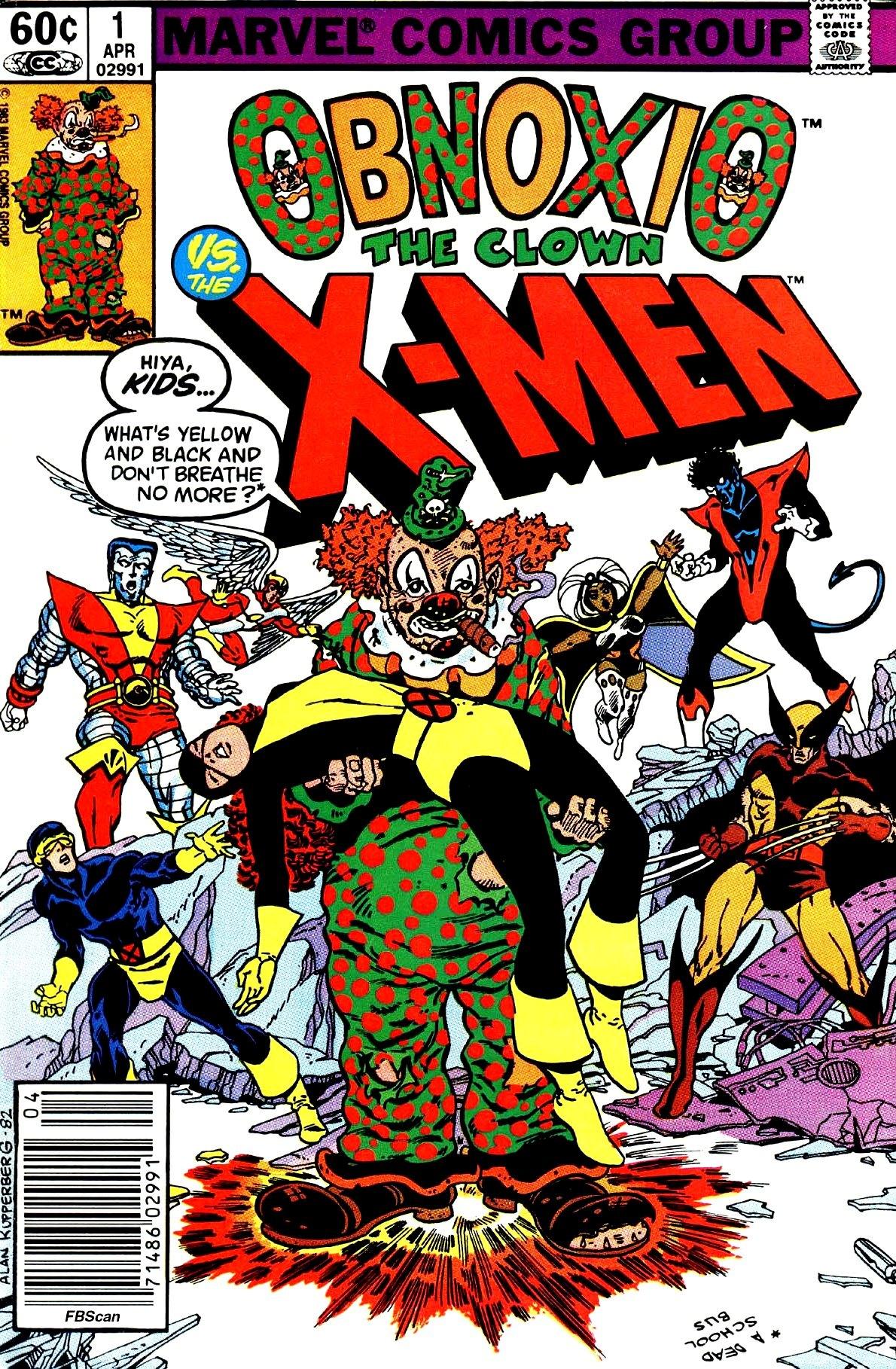 Obnoxio the Clown Vs The X-Men (1983) #1, cover by Alan Kupperberg.
