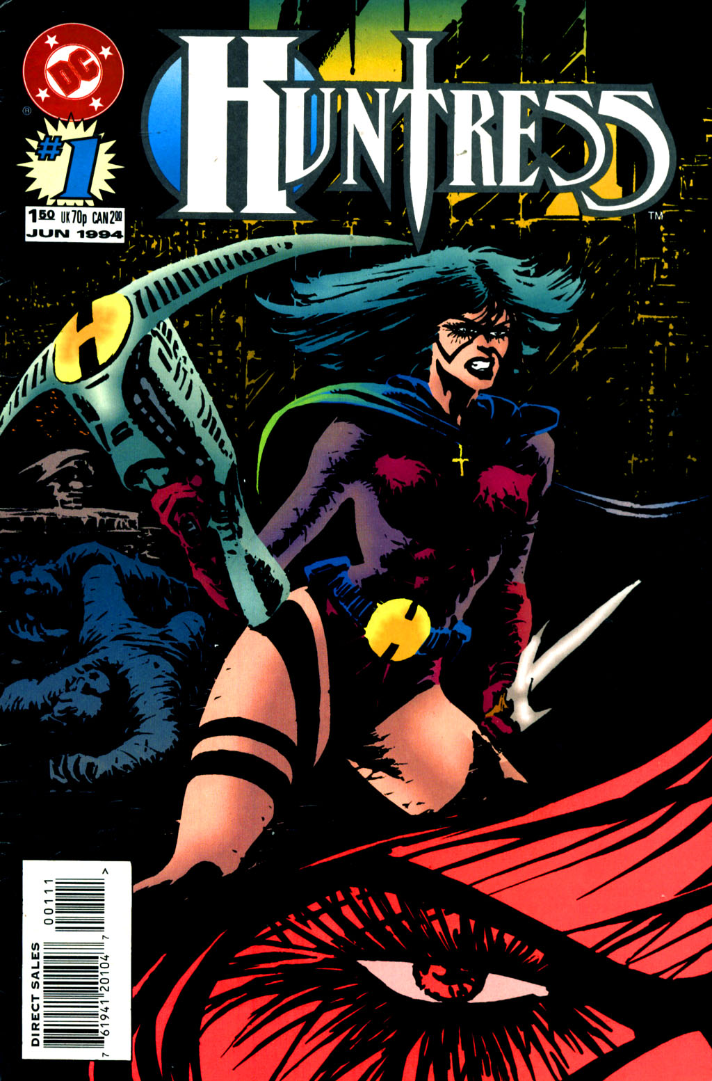 The Huntress (1994) #1, cover by Mike Netzer.