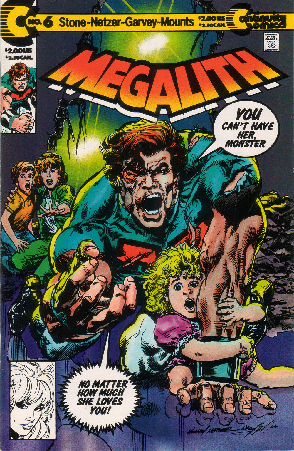 Megalith (1989) #6, cover penciled by Mike Nasser & inked by Neal Adams.